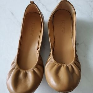 J.crew tan leather ballet flats